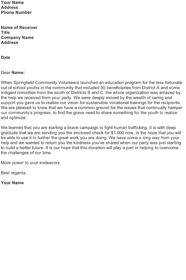 Letter to Accompany a Financial Donation