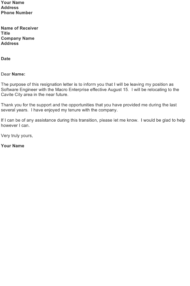 Letter Of Resignation Download Free Business Letter